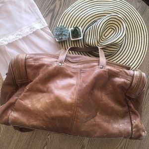 Handbags - Vintage Perfectly Worn Leather Duffel Travel Bag